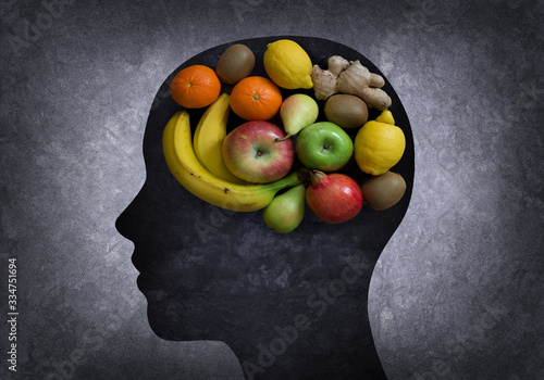 Fototapeta Head with part of the brain in the form of fruits obraz