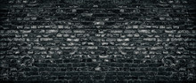 Old Black Shabby Brick Wall Wi...