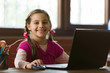 canvas print picture - Online Remote Education Concept, Child Girl Studying At Home