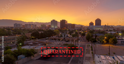 Photo Orange Sunrise Aerial Perspective Downtown City Skyline Albuquerque New Mexico
