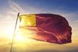 canvas print picture - Vilvoorde of Flemish Brabant of Belgium flag waving on the top sunrise mist fog