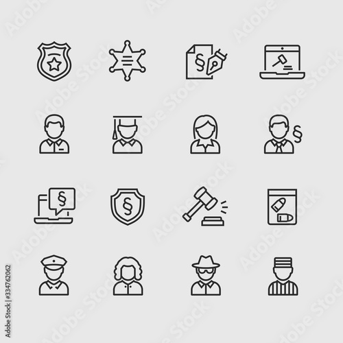 Photo Vector justice and legal icon set