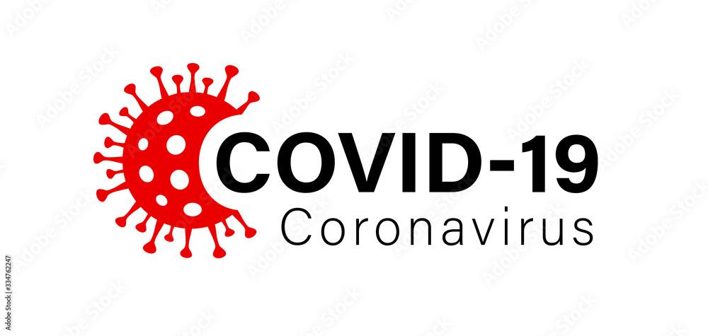 Fototapeta Illustration graphic vector of corona virus in wuhan, coronavirus infection. 2019-nvoc virus. Corona virus logo microbe, outbreak Covid-19 sign with viral cell red color
