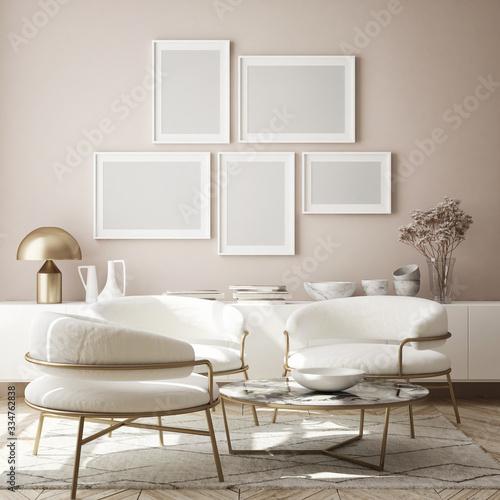 Obraz na plátne mock up poster frame in modern interior background, living room, Scandinavian st
