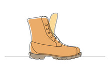 Orange Boot In Continuous Line Art Drawing Style. Weather Resistant High Shoes Isolated On White Background. Vector Illustration