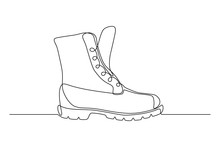 Boot In Continuous Line Art Drawing Style. Weather Resistant High Shoes Minimalist Black Linear Sketch Isolated On White Background. Vector Illustration