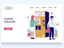 Coffee Machine Vector Website Landing Page Design Template