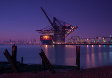 Felixstowe Port At Night From Languard Point