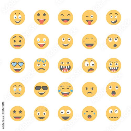 Obraz na plátně Smiley Flat Icons Set