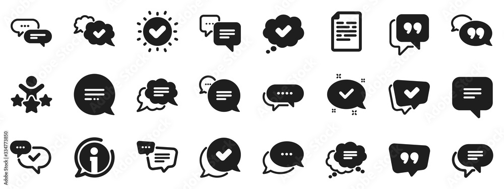 Fototapeta Approved, Checkmark box and Social media message. Chat and quote icons. Chat speech bubble, Tick or check mark, Comment quote icons. Think, approved talk, speech bubble. Vector