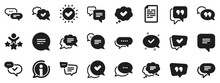 Approved, Checkmark Box And Social Media Message. Chat And Quote Icons. Chat Speech Bubble, Tick Or Check Mark, Comment Quote Icons. Think, Approved Talk, Speech Bubble. Vector