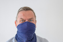 Middle-aged Man In Blue Wrap W...
