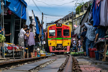 Maeklong Railway Market With Train Thailand