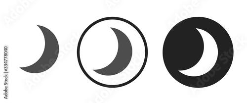 Photo Waning crescent moon icon . web icon set .vector illustration