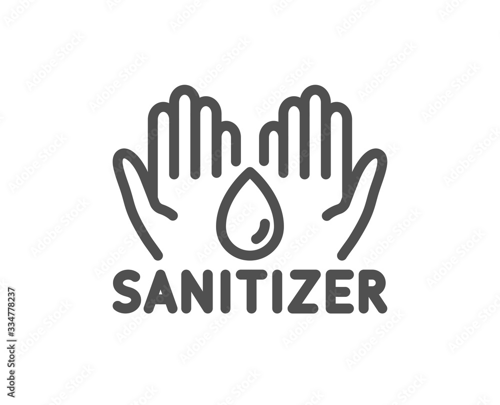 Fototapeta Hand sanitizer line icon. Sanitary cleaning sign. Washing hands symbol. Quality design element. Editable stroke. Linear style hand sanitizer icon. Vector