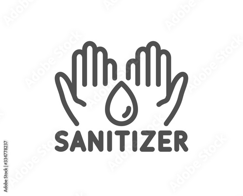 Obraz Hand sanitizer line icon. Sanitary cleaning sign. Washing hands symbol. Quality design element. Editable stroke. Linear style hand sanitizer icon. Vector - fototapety do salonu