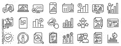 Set of Chart presentation, Report, Increase growth graph icons. Graph line icons. Analytics testing, Falling demand, Pie chart report. Calendar statistics, Stats. Ab testing, Increase sales. Vector
