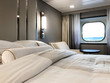 Luxurious ocean view or oceanview or outside or exterior cabin on luxury Azamara Club Cruises cruiseship or cruise ship liner Azamara Pursuit in modern interior design