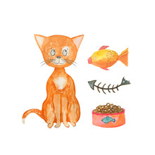 Watercolor Illustration Ginger Cat, Goldfish, Fish Skeleton, Bowl With Food. Hand-drawn With Watercolors And Suitable For All Types Of Design.