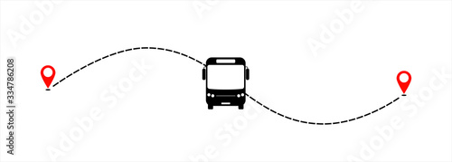 Tablou Canvas Bus line path of bus road route with start point GPS and black dash line