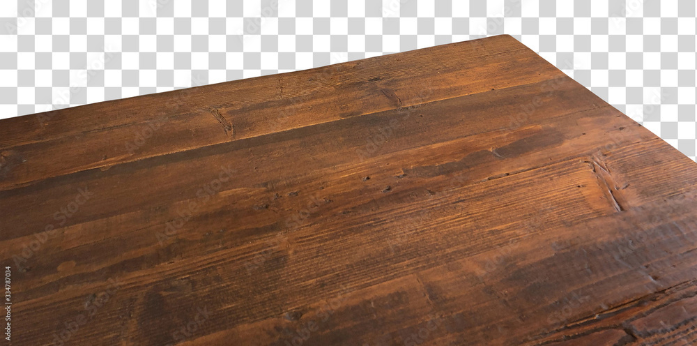 Fototapeta Perspective view of wood or wooden table top corner on isolated background including clipping path