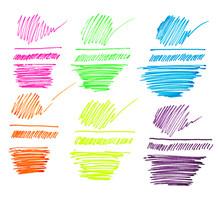 Set Of Gel Pen Marker Lines