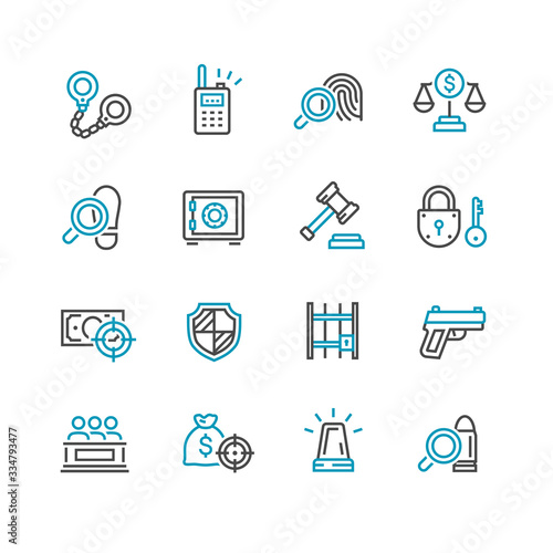Photo Law and Order Linear Vector Icons Set