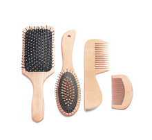 Hair Brushes And Combs On White Background