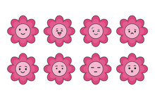 Set Of Cute Flower With Emoti...