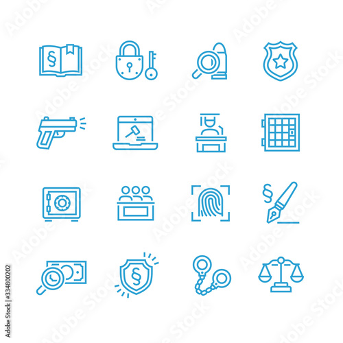 Law and Order Linear Vector Icons Set Canvas Print