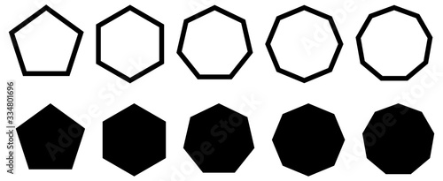 Set of simple polygons with five to nine sides Wallpaper Mural