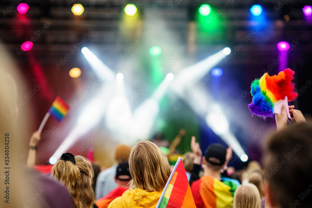Fototapeta West Pride Music Event on PRIDE Festival with colourful flags and spotlights, LGBT