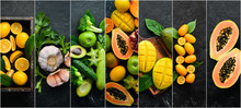 Photo Collage Of Fresh Fruits And Vegetables On Black Background. Food Banner.