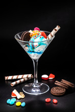 Ice Cream Balls In A Glass Wit...