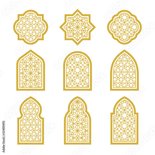 gold arabic ornamental windows set Wallpaper Mural