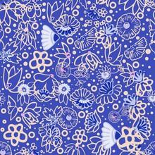 Seamless Russian Pattern Blue ...