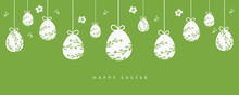 Easter Eggs  Hanging On Green Background With Easter Greetings.
