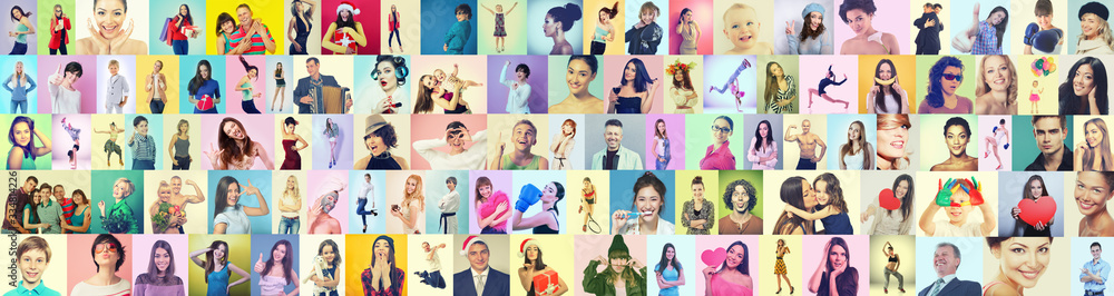 Fototapeta Diverse joyful persons of different age, gender, ethnicity.Collage of happy gesturing happiness and success people on colored backgrounds. Human vivid emotions, positive expressions. Gladness