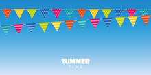 Summer Time Blue Background Wi...