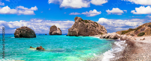 Best beaches of Cyprus - beautiful Petra tou Romiou, famous as a birthplace of A Canvas Print