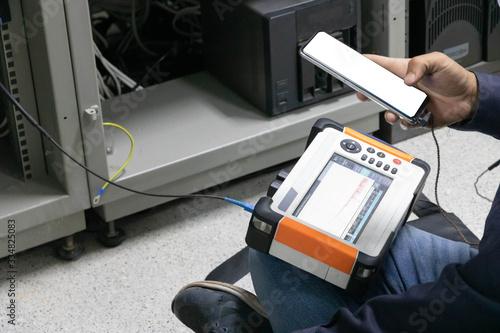 fiber optic cable testing in server room Wallpaper Mural