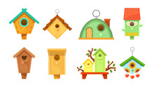 Decorative Wooden Spring Bird Houses. Colorful Garden Birdhouses For Feeding Birds. Wooden Constructions To Birds Small Buildings Of Planks With Hole. Birdhouses Set Vector Illustration.