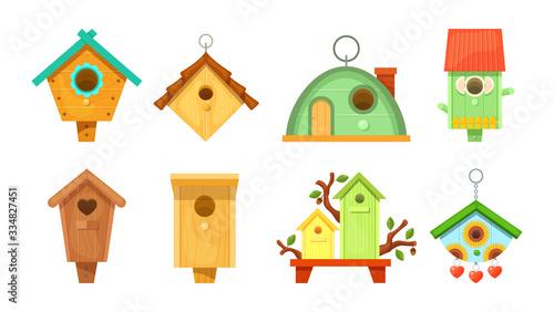 Decorative wooden spring bird houses Canvas Print