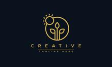 Organic Logo Design. Nature Tree And Sun Vector Template.