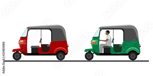 Fotografia, Obraz Side view of auto rickshaw vehicle with and without driver isolated on white background
