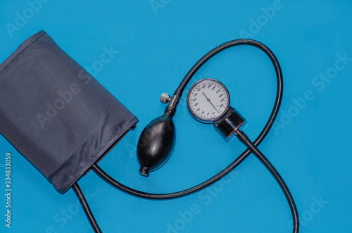 Aneroid blood pressure kit for pressure measurement on a blue background Canvas Print