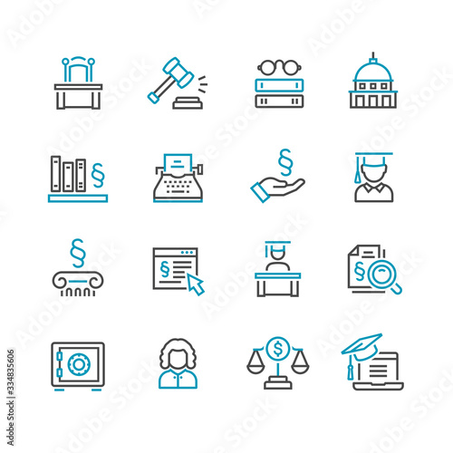 Photo Lawyer and business vector icon set