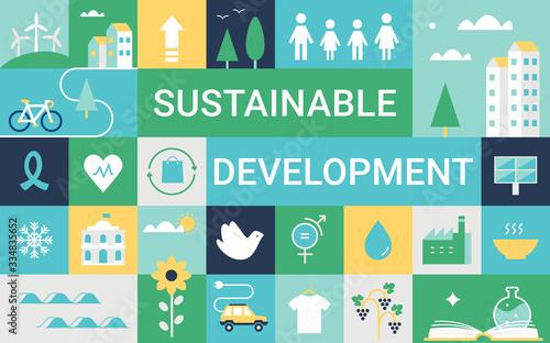 Fototapeta Sustainable Development Goals and Living Implementation. Concept Vector Illustration obraz