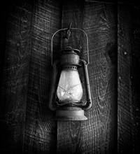 Old Kerosene Lamp On The Wall