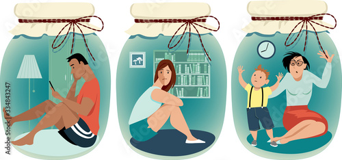 People practicing social distancing sitting home in a jars, EPS 8 vector illustr Canvas-taulu